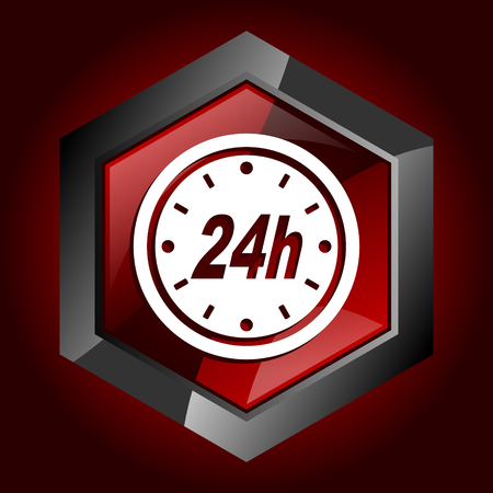 24h dark red vector hexagon icon 向量圖像