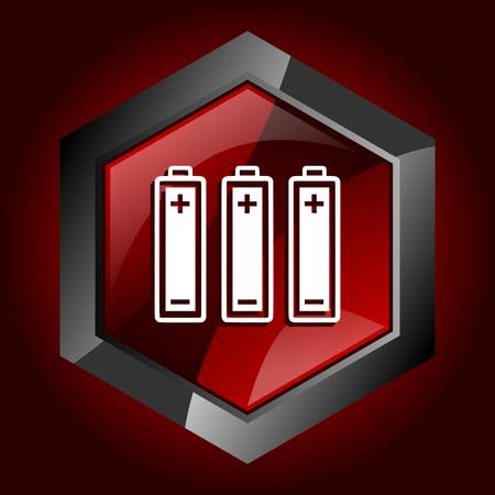 Battery dark red vector hexagon icon Illustration