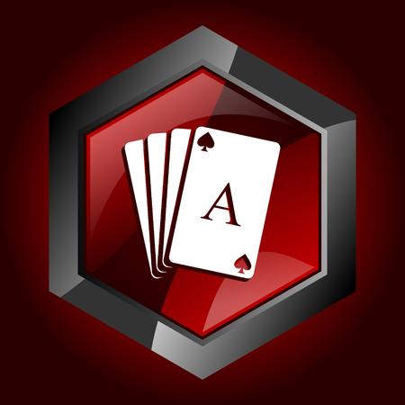 Card dark red vector hexagon icon Vektorgrafik