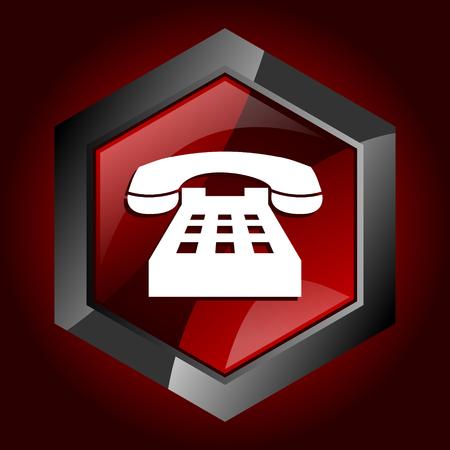 Telefono rosso scuro icona esagonale vettoriale