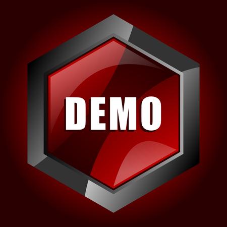 Demo dark red vector hexagon icon
