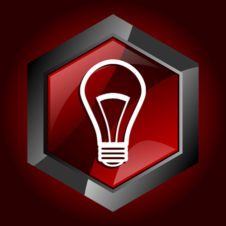 Bulb dark red vector hexagon icon