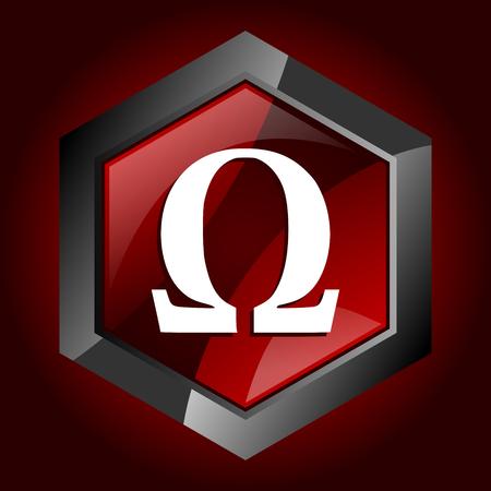 Omega dark red vector hexagon icon