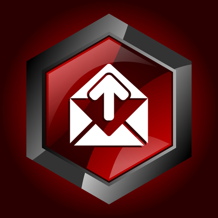 Email dark red vector hexagon icon Illustration
