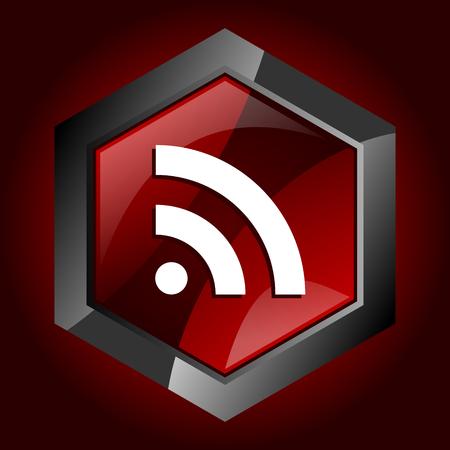 Rss dark red vector hexagon icon