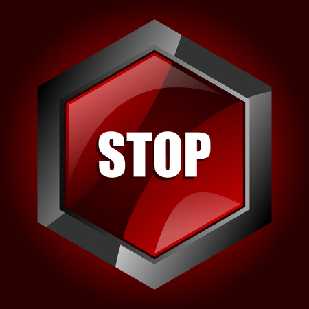 Stop dark red vector hexagon icon Illustration
