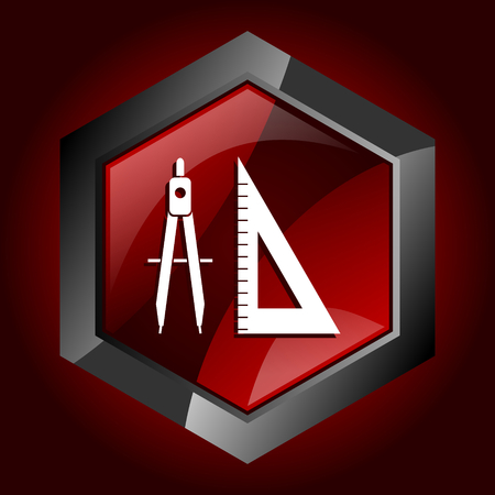 Learning dark red vector hexagon icon
