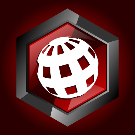 Earth dark red vector hexagon icon