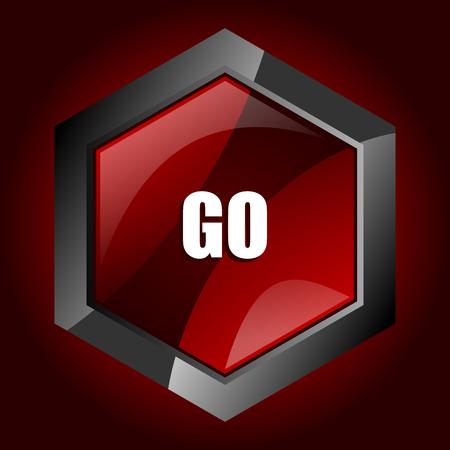 Go dark red vector hexagon icon