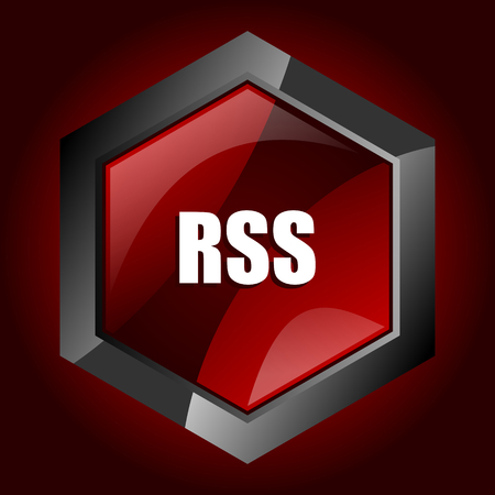 Rss dark red vector hexagon icon