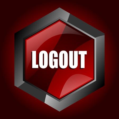 Logout dark red vector hexagon icon