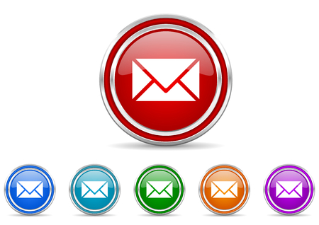 Email silver metallic colorful vector web and mobile phone icon set