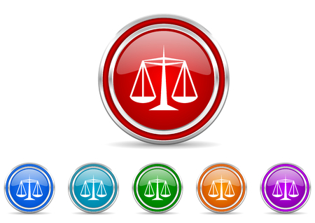 Justice silver metallic colorful vector web and mobile phone icon set