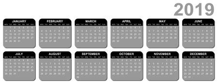 Editable vector calendar for year 2019  mondays first
