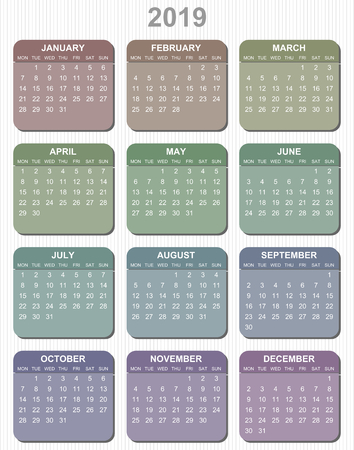 Colorful pastel simple editable vector calendar for year 2019  mondays first 일러스트