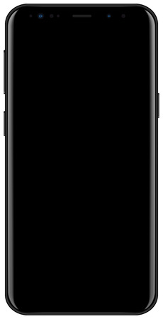 Brand new 2018 year smartphone black color with empty screen isolated on white background mockup. Front view of modern android multimedia smart phone easy to edit and put your image.