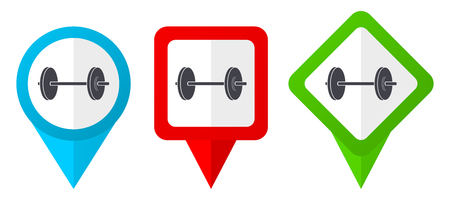 Fitness sign red, blue and green vector pointers icons. Set of colorful location markers isolated on white background easy to  edit