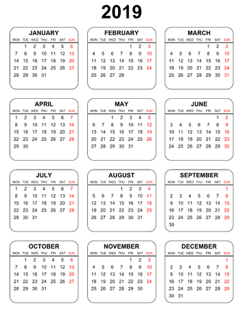 Simple editable vector calendar for year 2019 mondays first sundays in red