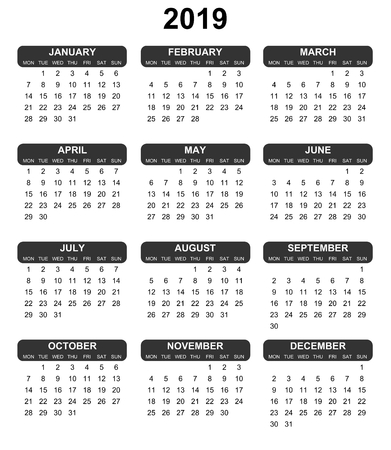 Vector calendar for year 2019