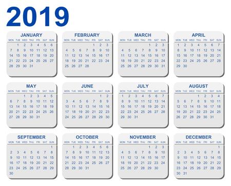 Vector calendar for year 2019