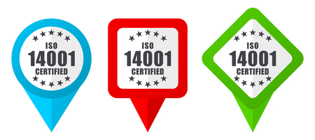 Iso 14001 sign red, blue and green vector pointers icons. Set of colorful location markers isolated on white background easy to  edit