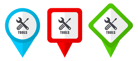 Tools sign red, blue and green vector pointers icons. Set of colorful location markers isolated on white background easy to  edit Vectores