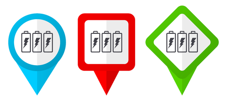 Battery sign red, blue and green vector pointers icons. Set of colorful location markers isolated on white background easy to  edit