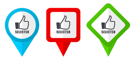 Selected sign red, blue and green vector pointers icons. Set of colorful location markers isolated on white background easy to  edit Stockfoto
