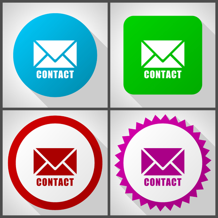 Vector icons with 4 options. Email flat design icon.
