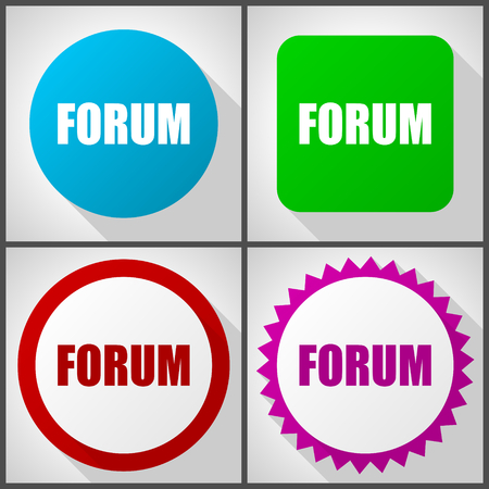 Vector icons with 4 options. Forum flat design icon set easy to edit in eps 10.