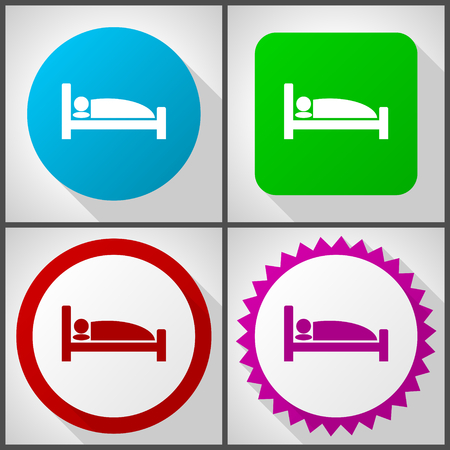 Vector icons with 4 options. Hotel flat design icon set easy to edit in eps 10.