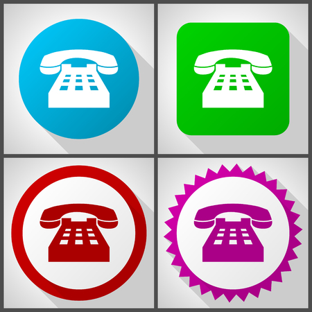 Icônes vectorielles avec 4 options. Jeu d'icônes de conception plate de téléphone facile à modifier dans eps 10.