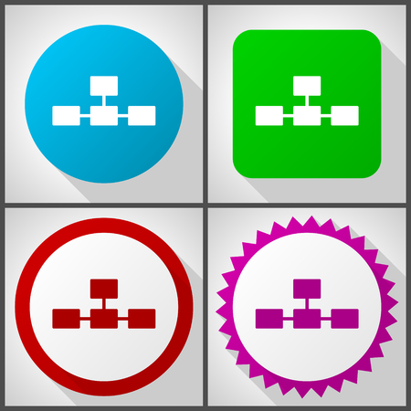 Vector icons with 4 options. Database flat design icon set easy to edit in eps 10. Illustration