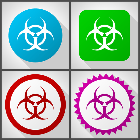 Vector icons with 4 options. Biohazard flat design icon set