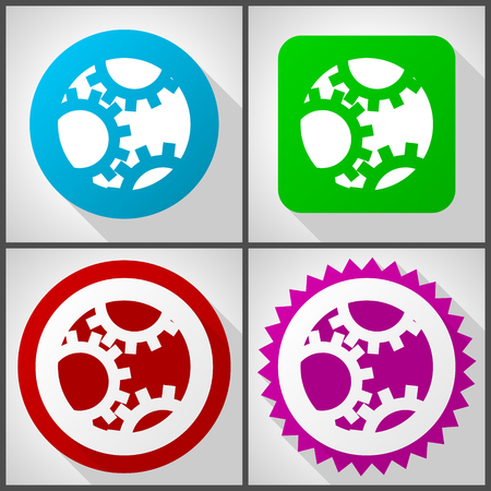 Vector icons with 4 options. Gear flat design icon set