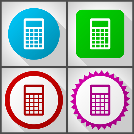 Vector icons with 4 options. Calculator flat design icon set