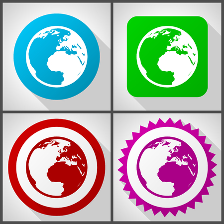 Vector icons with 4 options. Earth flat design icon set easy to edit in eps 10.