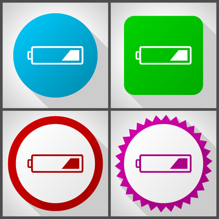 Vector icons with 4 options. Battery flat design icon set easy to edit in eps 10.