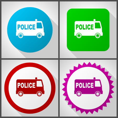 Vector icons with 4 options. Police flat design icon set easy to edit in eps 10. Illustration