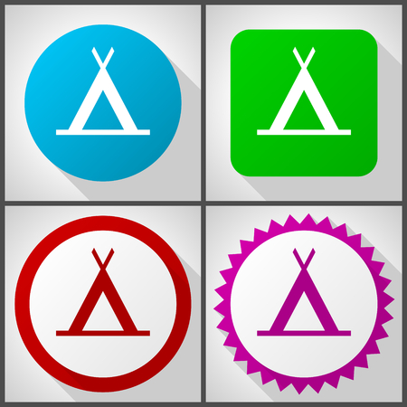 Vector icons with 4 options. Camp flat design icon set easy to edit in eps 10.