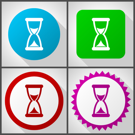 Vector icons with 4 options. Time flat design icon set easy to edit in eps 10.