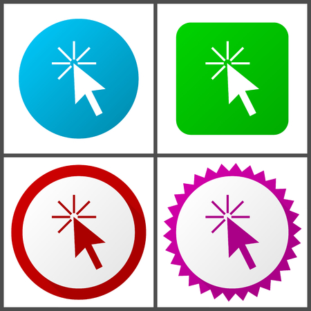 Click here vector icons set in eps 10