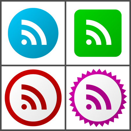 Rss vector icons set in eps 10 Illustration
