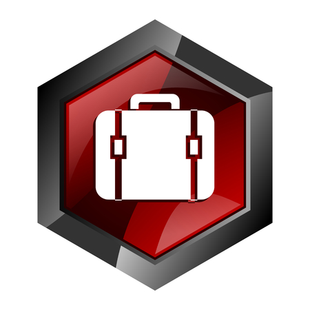 luggage, baggage, suitcase, travel, bag, case button red hexagon modern design vector icon in eps 10 isolated on white background