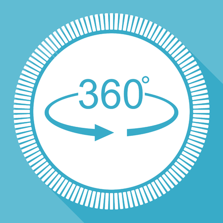 rotation arrow circle view 360 degree angle icon blue flat design vector illustration in eps 10