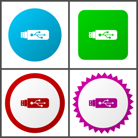 Flat design usb, pendrive, memory, data with 4 options and colors vector icons set in eps 10
