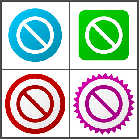Flat design no, stop, forbidden, access, denied with 4 options and colors vector icons set in eps 10