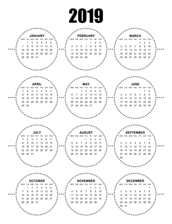 Simple editable vector calendar for year 2019 mondays first