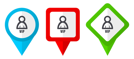 Vip red, blue and green vector pointers icons.Set of colorful location markers isolated on white background easy to edit.