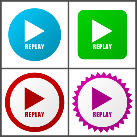 Replay red, blue, green and pink vector icon set. Web icons. Flat design signs and symbols easy to edit Çizim